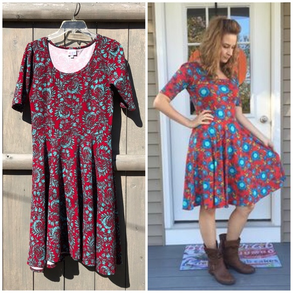 LuLaRoe Dresses & Skirts - LuLaRoe red aqua Nicole fit & flare dress